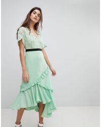 Платье Миди С Кружевным Лифом -зеленый Цвет Three Floor, цвет: Green