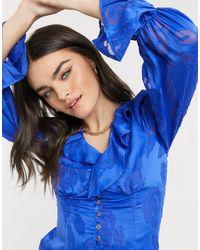 Синяя Блузка С Выгоревшим Эффектом -голубой Never Fully Dressed, цвет: Blue