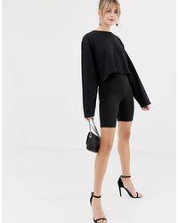 New Look Black – Kurze, schimmernde Leggings