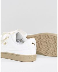 PUMA - Multicolor Basket Heart Trainers In Patent Marshmallow - Lyst