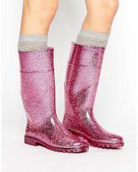 Park Lane Pink Glitter Welly