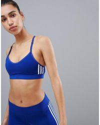 Adidas Training Three Stripe Strappy Bra In Blue