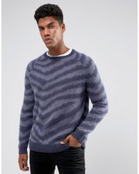 ASOS Textured Striped Sweater In Blue for men