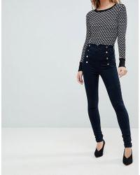 Karen Millen Blue High Waisted Popper Jeans