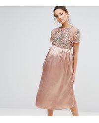 afb2b4819a202 Maya Maternity - Metallic Midi Dress With Satin Skirt And Embellished Bodice  - Lyst