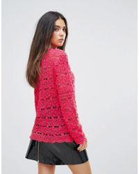 Club L - Red Crochet Detail High Neck Top - Lyst