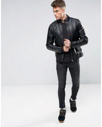 Blend Black Faux Leather Jacket for men