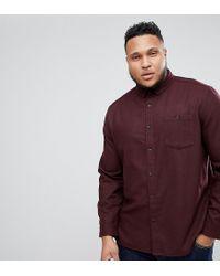 ASOS Red Plus Overshirt In Wool Mix Herringbone In Burgundy for men