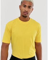 Camiseta holgada orgánica con cuello redondo en amarillo ASOS de hombre de color Yellow