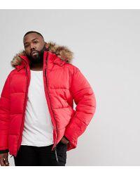 Big & Tall - Doudoune avec capuche en fausse fourrure - Rouge River Island pour homme en coloris Red