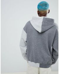 FairPlay Gray Split Hoodie With Small Logo for men