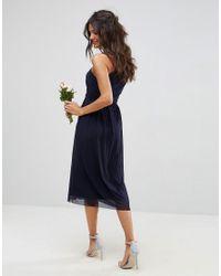 ASOS Blue Ruched Mesh One Shoulder Midi Dress