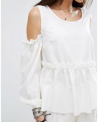 PRETTYLITTLETHING - White Hem Cold Shoulder Top - Lyst