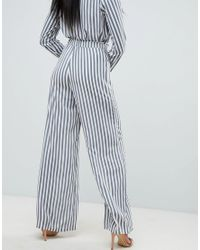 Missguided - Blue Striped Wide Leg Pants - Lyst
