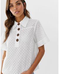 Chemise à manches courtes en broderie anglaise boutonnée devant ASOS en coloris White