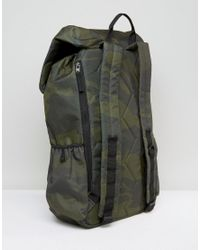 Hollister Green Backpack Roll Top In Camo for men