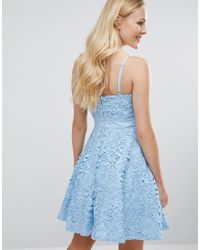 Forever Unique - Blue Lace Mini Prom Dress With Sweetheart Neck - Lyst