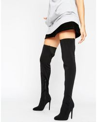 ASOS Black Asos Kamber Stretch Over The Knee Boots