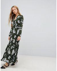 Liquorish - Green Floral Print Maxi Dress With Pleated Skirt - Lyst