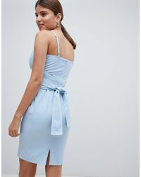 Missguided Blue Pinstripe Strappy Tie Waist Midi Dress
