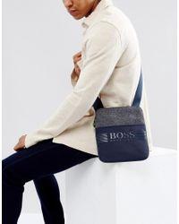 BOSS Green Blue By Hugo Boss Mixed Fabric Flight Bag Navy for men