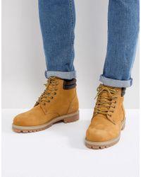 Jack & Jones Brown Nubuck Boots With Warm Lining for men
