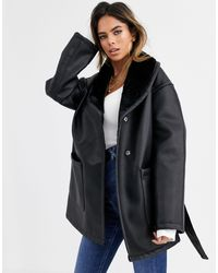 ASOS Black Luxe Leather Look Wrap Over Jacket