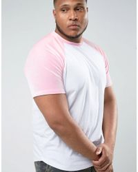 ASOS White Plus T-shirt With Mini Curved Hem And Contrast Velour Raglan Sleeves In Pink for men