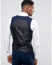 Only & Sons Blue Skinny Tuxedo Suit Vest for men