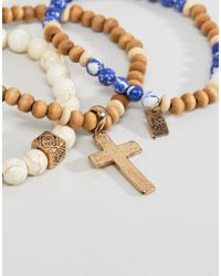 Icon Brand - Blue & Cream Beaded Bracelet In 3 Pack Exclusive To Asos for Men - Lyst