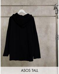 Tall - Felpa super oversize con cappuccio di ASOS in Black da Uomo