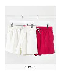 Набор Из 2 Шортов Для Плавания (розовые/серые) ASOS для него, цвет: Multicolor
