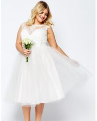 ASOS White Bridal Lace Sweetheart Tutu Midi Dress