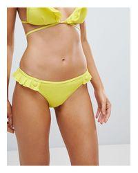 Slip bikini con volant di Lost Ink in Yellow