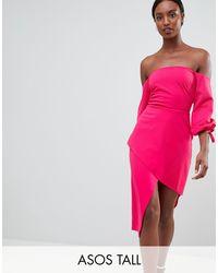 Vestido midi Bardot con falda cruzada a capas ASOS de color Pink