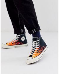Chuck 70 Hi Archive - Sneakers alte nere con fiamme ...