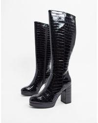 Черные Сапоги На Платформе И Каблуке -черный Цвет New Look, цвет: Black