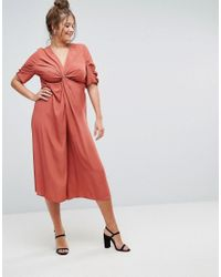 ASOS - Red Tea Jumpsuit With Knot Front - Lyst