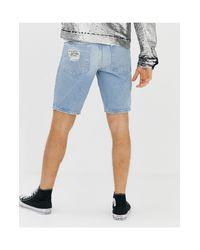 Short en jean slim à grosses déchirures - clair délavé ASOS pour homme en coloris Blue