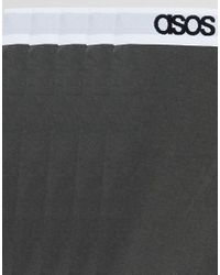 ASOS Plus Trunks With Branded Waistband In Gray 5 Pack for men