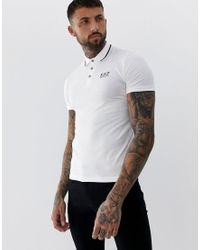 EA7 Armani – – es Polohemd mit Zierstreifen und Logo in White für Herren