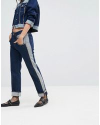 Tommy Hilfiger Blue Gigi Hadid Mid Rise Crop Straight Jean With All Over Studs