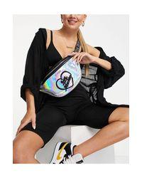 Черная Сумка-кошелек На Пояс С Голографической Отделкой -серебристый Love Moschino, цвет: Metallic