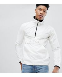 Nicce London White Tall Overhead Jacket In Reflective for men