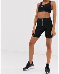 New Look Black – Kurze, schwarze Leggings mit Reißverschluss vorn