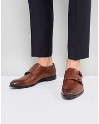 HUGO - Dressapp Burnished Calf Leather Double Strap Monk Shoes In Black for Men - Lyst