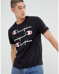 Champion T-shirt With Repeat Logo In Black for men
