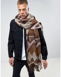 ASOS - Geo- Blanket Scarf In Brown for Men - Lyst