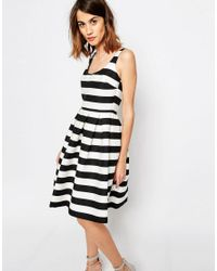 Warehouse cream and black lace dress
