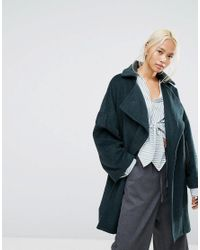 House Of Sunny Blue Oversized Wrap Coat With Zip Back Detail